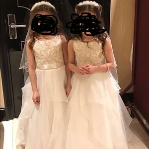 Flower girl dresses with Tiara/veil and shoes